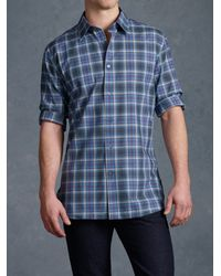 John Varvatos - Blue Basic Collar Sport Shirt for Men - Lyst