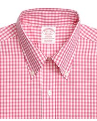 Brooks Brothers - Pink Non-iron Regent Fit Gingham Sport Shirt for Men - Lyst