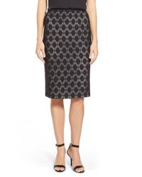 Vince Camuto - Black Dot Lace Pencil Skirt - Lyst