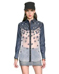 DIESEL | Blue Sequined Organza Denim Shirt | Lyst