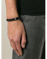 Valentino - Black 'Rockstud Noir' Bracelet for Men - Lyst
