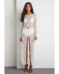Forever 21 | Natural Longline Lace Split-front Top | Lyst