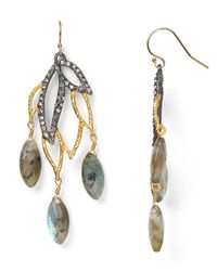 Alexis Bittar | Metallic Elements Labradorite Lacy Leaf Chandelier Earrings | Lyst