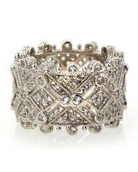 Judith Ripka | Metallic Deco Estate Diamond Wide Band Ring 6 | Lyst