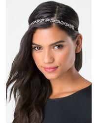 Bebe - Metallic Crystal Leaf Headband - Lyst