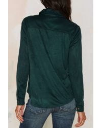 Nasty Gal - Mari Lace Up Top - Hunter Green - Lyst