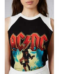 TOPSHOP - Womens Acdc Tour Tank By and Finally Black - Lyst