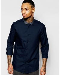 ASOS | Blue Shirt With Long Sleeve And Contrast Collar for Men | Lyst