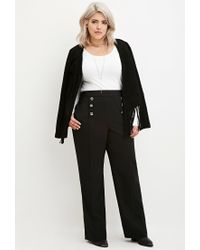 Forever 21 | Black Plus Size Sailor Button Trousers | Lyst
