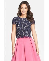 Eliza J | Blue Lace Cap Sleeve Top | Lyst