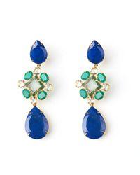 Bounkit | Lapis & Green Onyx Flower Drop Earrings | Lyst