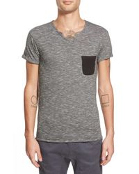 ELEVEN PARIS | Gray 'babico' Stripe Pocket V-neck T-shirt for Men | Lyst