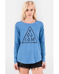 Volcom - Blue 'tripod' Long Sleeve Graphic Tee - Lyst