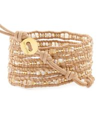 Chan Luu | Brown Natural Mop Beaded Wrap Bracelet On Beige Leather | Lyst