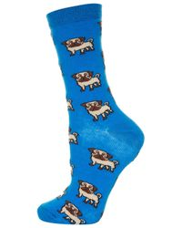 TOPSHOP | Blue All Over Pug Ankle Socks | Lyst