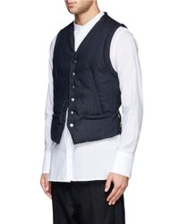 Ann Demeulemeester - Blue Padded Pinstripe Vest for Men - Lyst