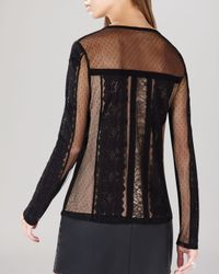 BCBGMAXAZRIA - Black Shirt - Addyson Lace Blocked Long Sleeve - Lyst
