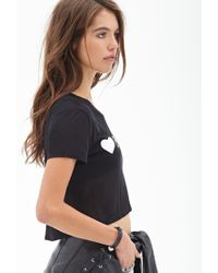 Forever 21 - Black 8,000 Likes Cropped Tee - Lyst