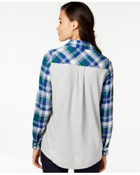 G.H. Bass & Co. | Blue Plaid Knit-back Shirt | Lyst