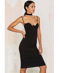 Rare London | Monroe Midi Bodycon Dress - Black | Lyst