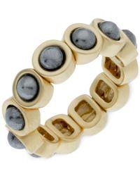 T Tahari | Metallic Faux Pearl Stretch Ring | Lyst