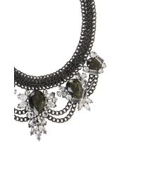 BCBGMAXAZRIA | Gray Teardrop Stone Statement Necklace | Lyst
