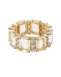 R.j. Graziano | Metallic Rectangular Crystal Stretch Bracelet | Lyst