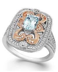 Macy's | Blue Aquamarine (5/8 Ct. T.w.) And Diamond (1/10 Ct. T.w.) Ring In Sterling Silver And 14k Rose Gold | Lyst