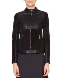 Callens - Blue Velveteen & Leather Biker Jacket - Lyst