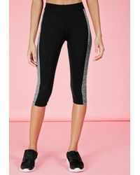 Missguided | Gray Active Contrast Panel Cropped Gym Leggings Grey Marl | Lyst
