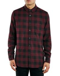TOPMAN | Purple Buffalo Check Flannel Shirt for Men | Lyst