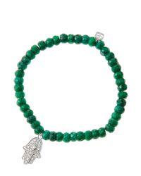 Sydney Evan - Green 6mm Faceted Emerald Beaded Bracelet With 14k White Gold/diamond Medium Hamsa Charm (made To Order) - Lyst
