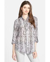 Foxcroft Black Distressed Zigzag Print Roll Sleeve Blouse