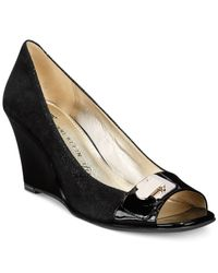 Anne Klein - Black Palmyra Wedge Pumps - Lyst