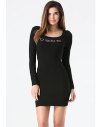 Bebe | Black Logo Ribbed Sweater Dress | Lyst