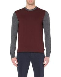 Armani | Purple Two-tone Crew-neck Knitted Jumper - For Men for Men | Lyst