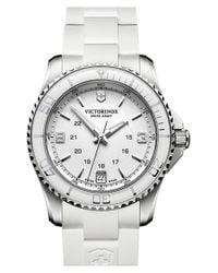 Victorinox - White 'maverick' Rubber Strap Watch - Lyst