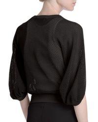 Givenchy - Black Mesh Open-sleeve Crewneck Top - Lyst