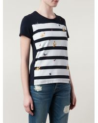 Vivienne Westwood Anglomania - Blue Striped Logo T-Shirt - Lyst