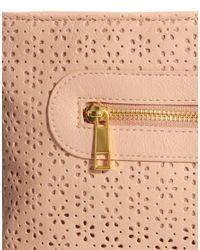 ASOS - Pink Zip Top Clutch Bag with Laser Cut - Lyst