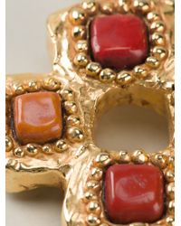 Christian Lacroix - Red Stone Cross Clip-On Earrings - Lyst