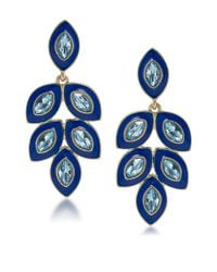 Carolee | Blue Petals Glitz Stone Statement Drop Earrings | Lyst