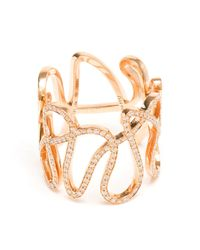 Repossi | Metallic 18kt Rose Gold And Diamond 'white Noise' Ring | Lyst
