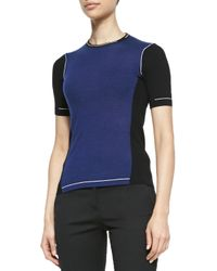 Reed Krakoff - Blue Short-Sleeve Colorblock Sweater - Lyst
