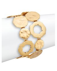 Oscar de la Renta | Metallic Mixed Circle Two-row Bracelet/goldtone | Lyst
