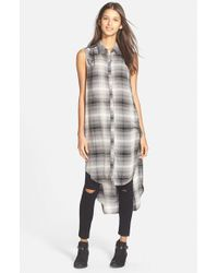 Chloe K - Gray Sleeveless Plaid Tunic - Lyst