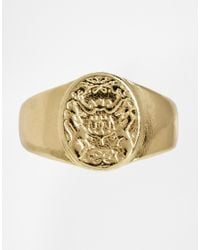 ASOS - Metallic Pinky Ring with Crest for Men - Lyst
