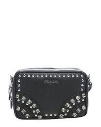Prada | Black Leather Embellished Mini Convertible Crossbody Bag | Lyst