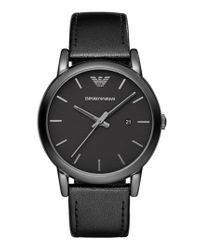 Emporio Armani - Black Leather Strap Watch for Men - Lyst