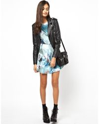 Glamorous   Blue Rose Print Dress   Lyst